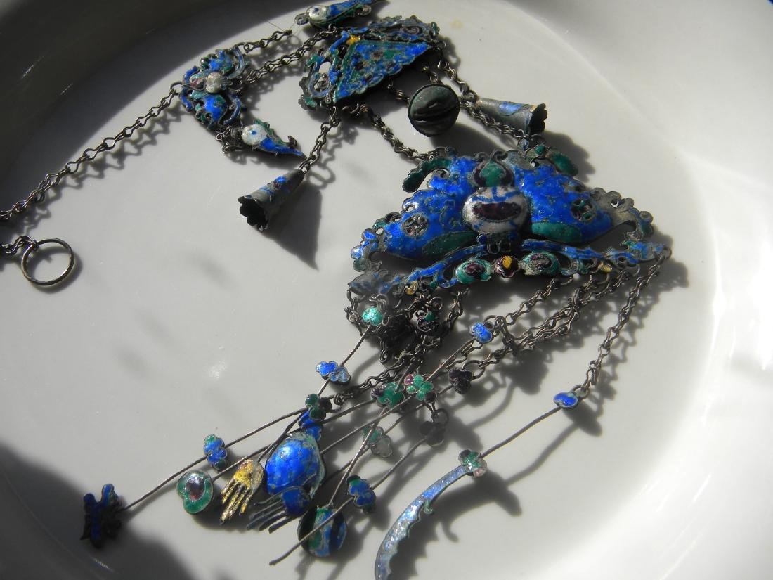 Antique Chinese Enamel Silver Butterfly Chain - 2