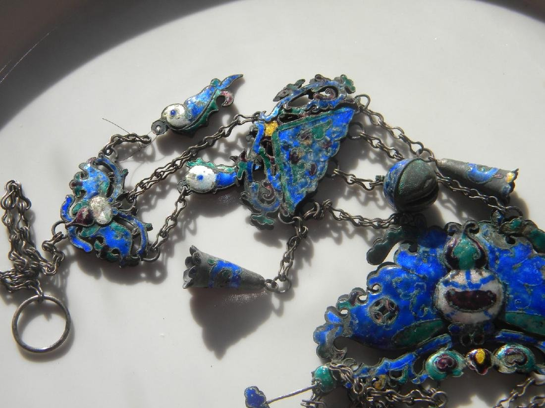 Antique Chinese Enamel Silver Butterfly Chain - 6
