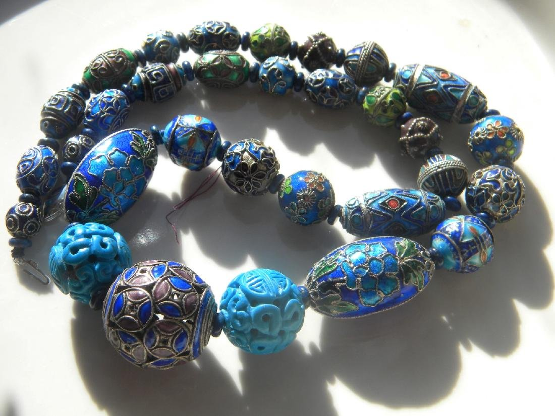 Antique Chinese Enamel Silver Bead Necklace