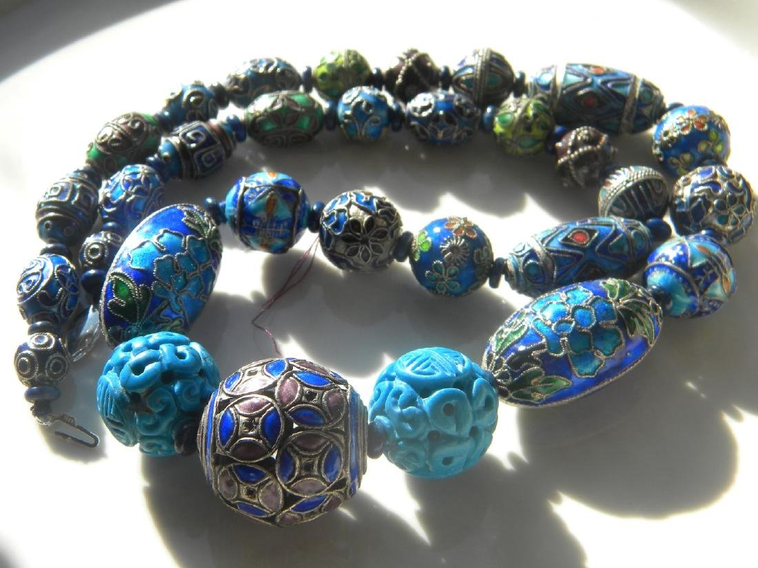 Antique Chinese Enamel Silver Bead Necklace - 2
