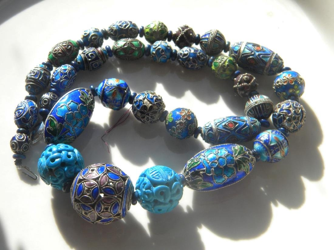 Antique Chinese Enamel Silver Bead Necklace - 3
