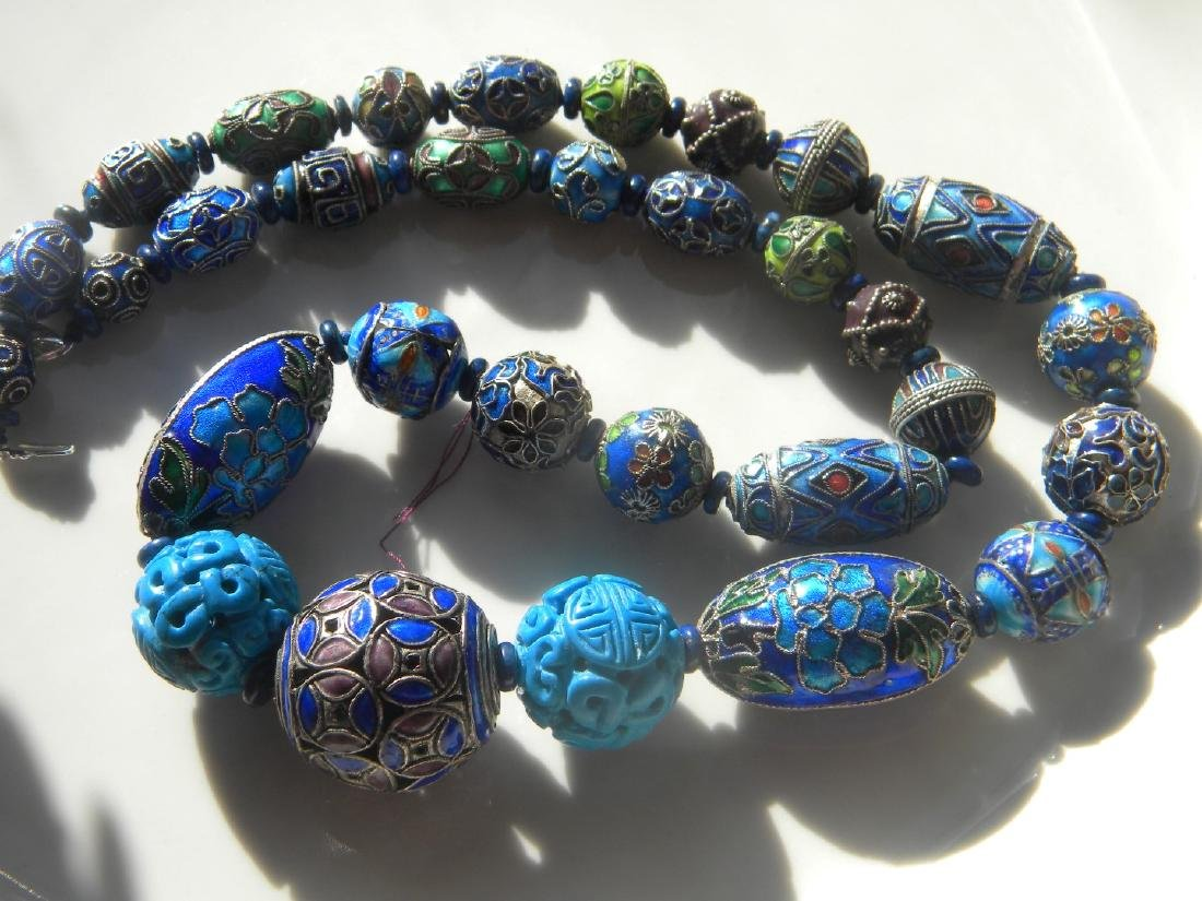 Antique Chinese Enamel Silver Bead Necklace - 4