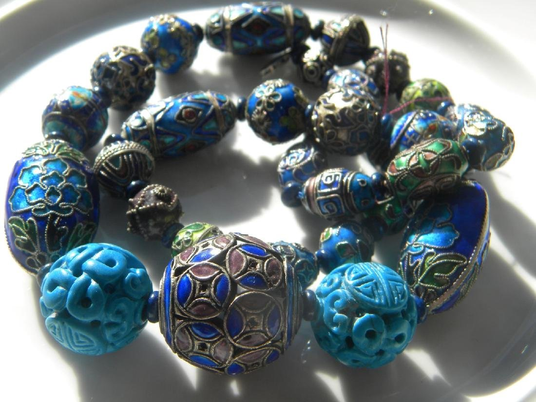 Antique Chinese Enamel Silver Bead Necklace - 5