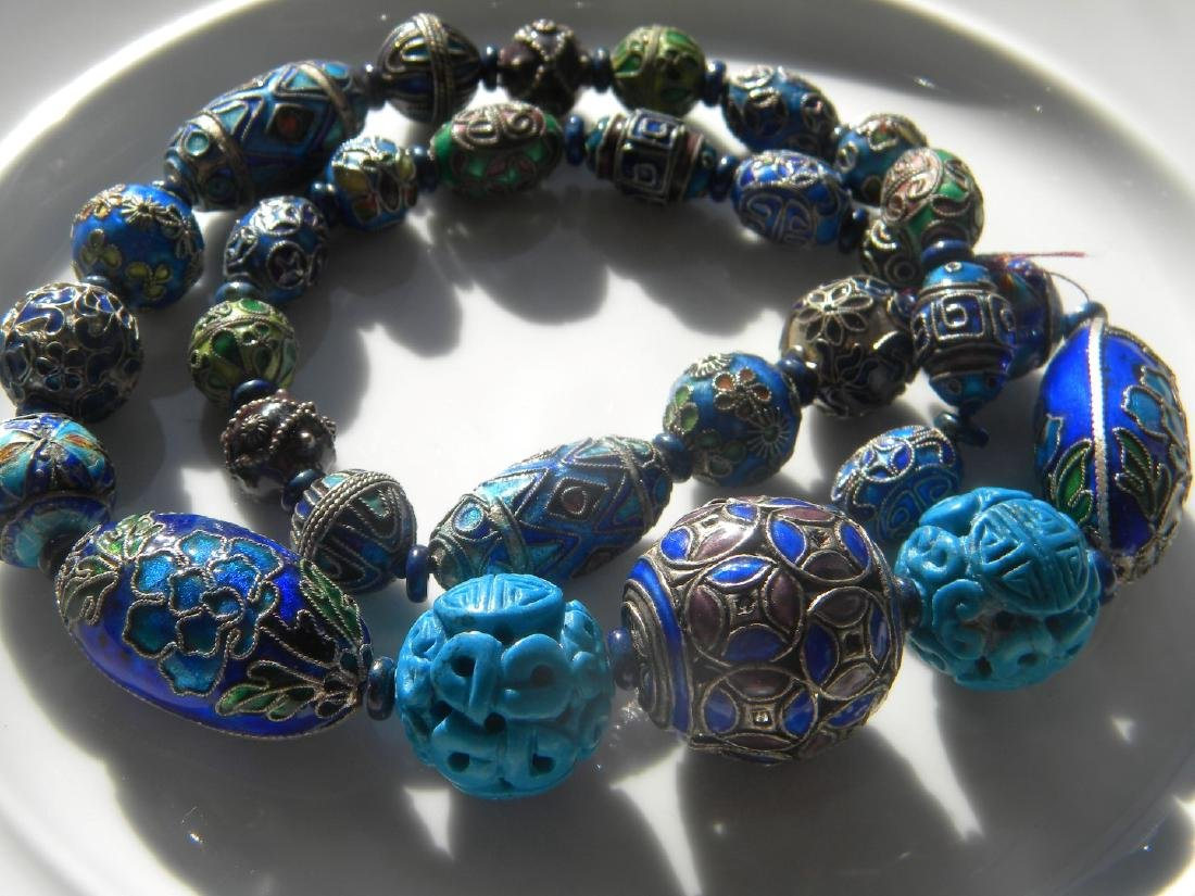 Antique Chinese Enamel Silver Bead Necklace - 6