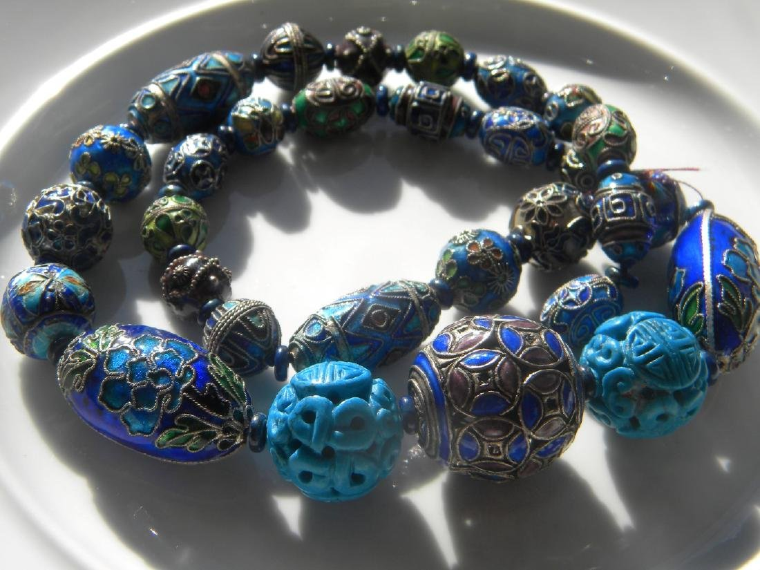 Antique Chinese Enamel Silver Bead Necklace - 7