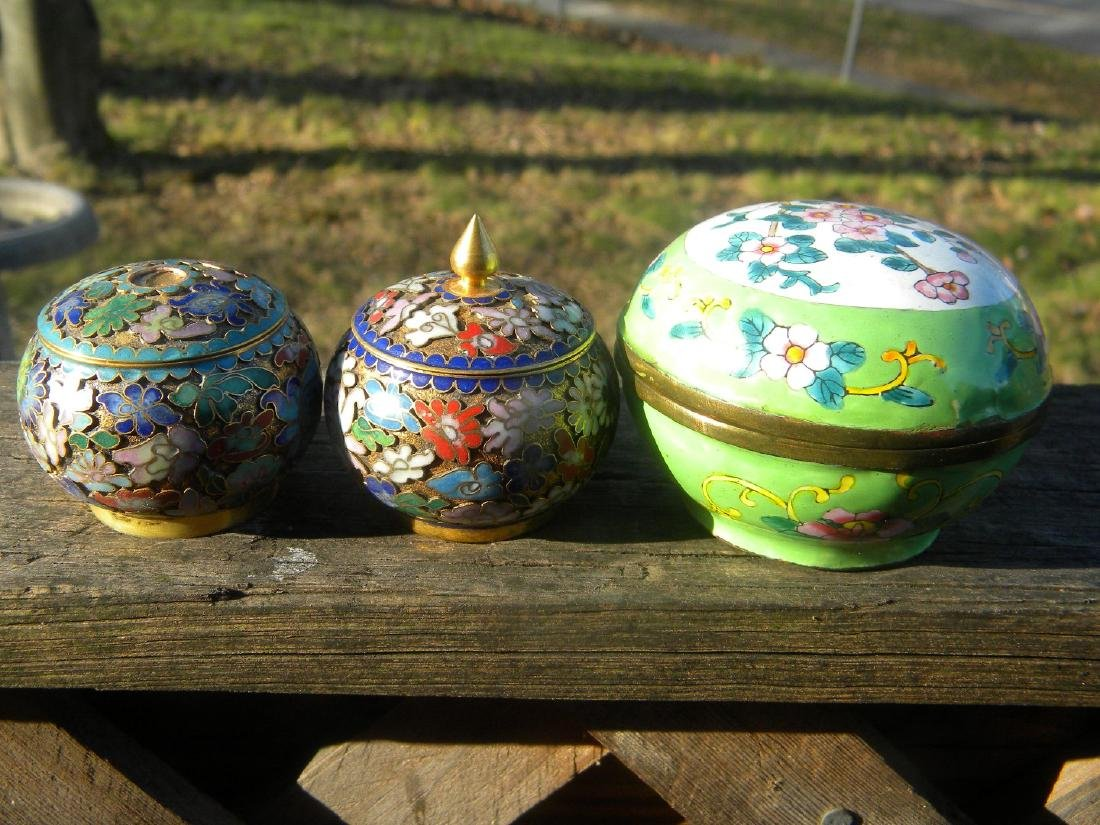Three Vintage Enamel and Cloisonne Boxes