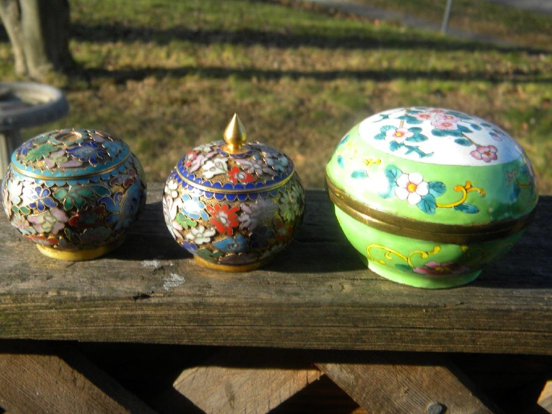 Three Vintage Enamel and Cloisonne Boxes - 2