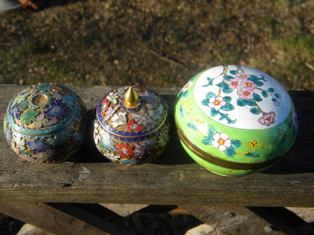 Three Vintage Enamel and Cloisonne Boxes - 3