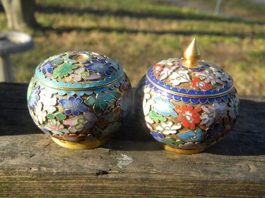 Three Vintage Enamel and Cloisonne Boxes - 5