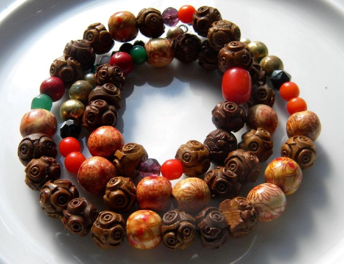 Antique Chinese Carved Wood Bead Necklace