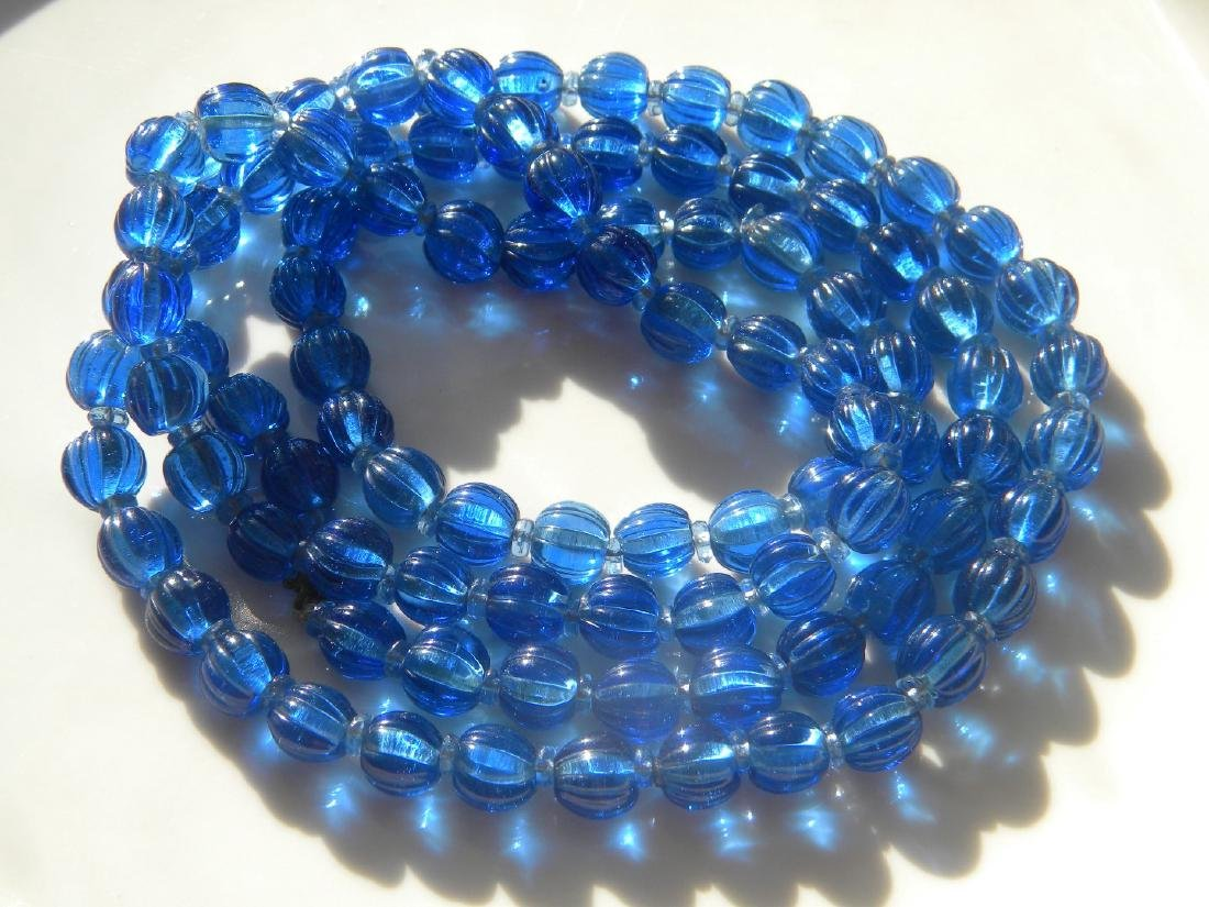 Antique Chinese Carved Blue Peking Glass Court Beads