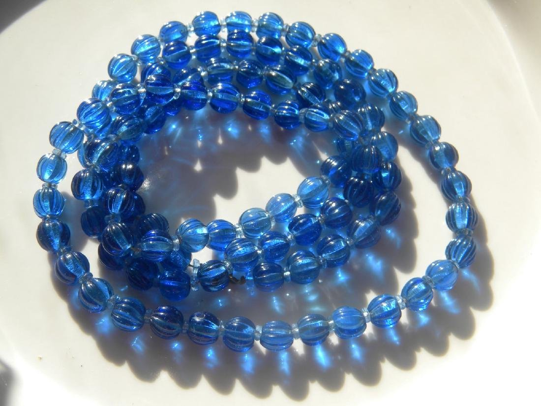 Antique Chinese Carved Blue Peking Glass Court Beads - 3