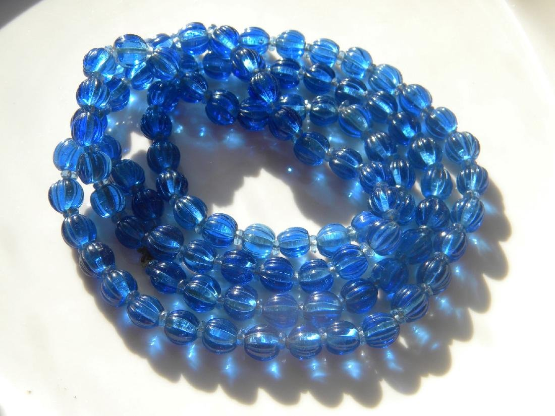 Antique Chinese Carved Blue Peking Glass Court Beads - 4