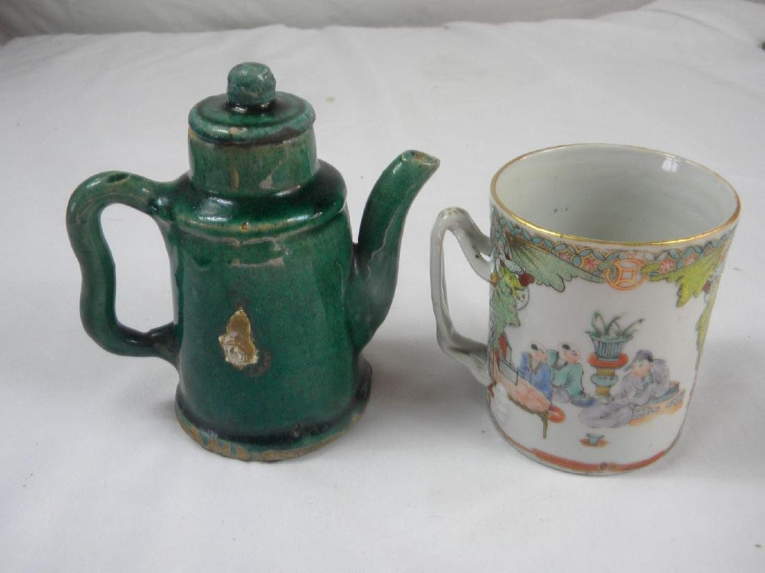 Pair of Antique Chinese Green Pot and Tea Cup
