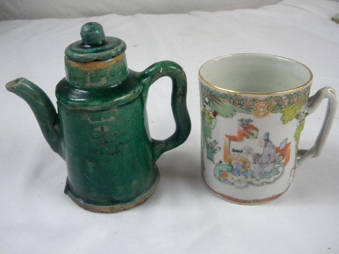 Pair of Antique Chinese Green Pot and Tea Cup - 2