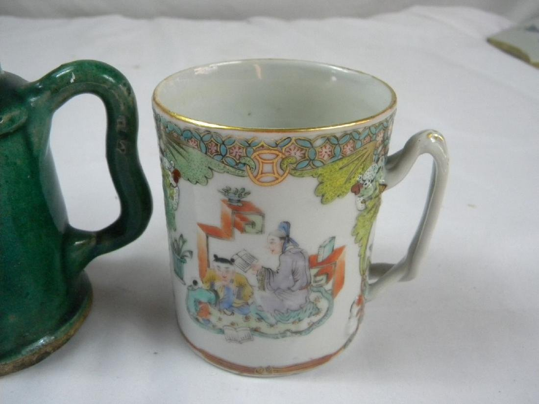 Pair of Antique Chinese Green Pot and Tea Cup - 3