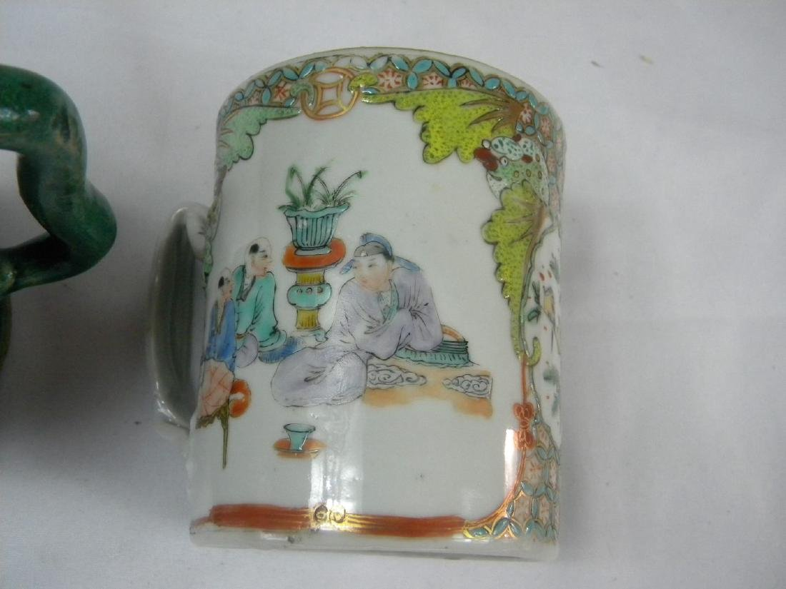 Pair of Antique Chinese Green Pot and Tea Cup - 5