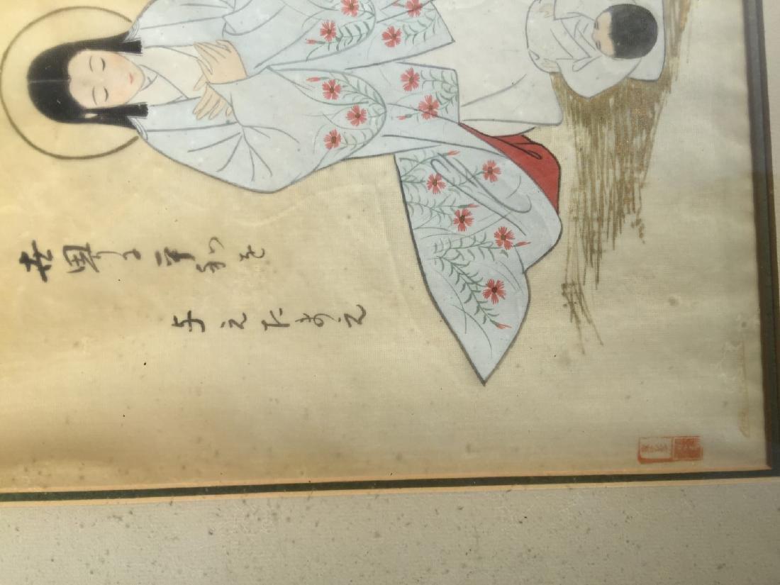 Antique Japanese God Painting Framed - 3