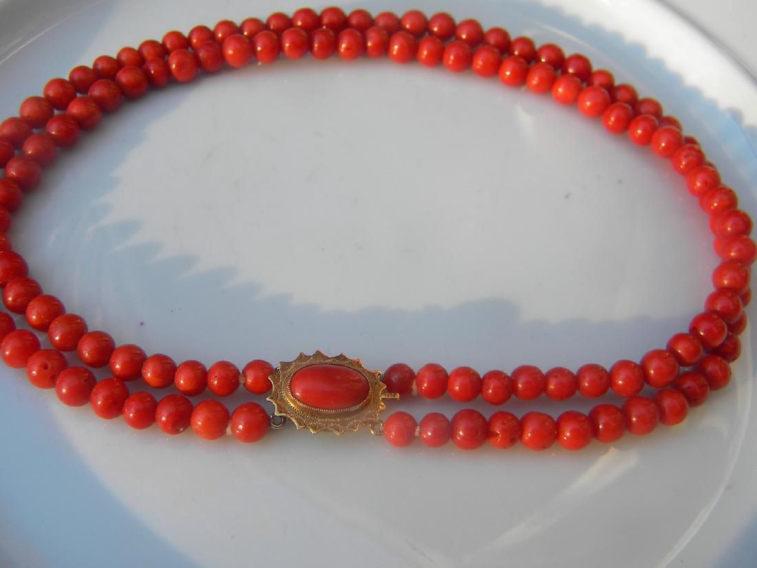 Antique Natural 14K Gold Clasp Natural Red Coral