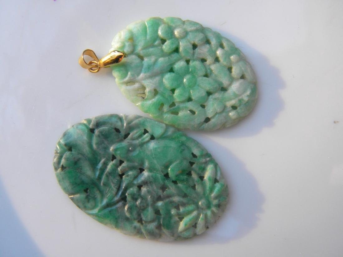 Two Antique Chinese Carved Green Jadeite Pendants