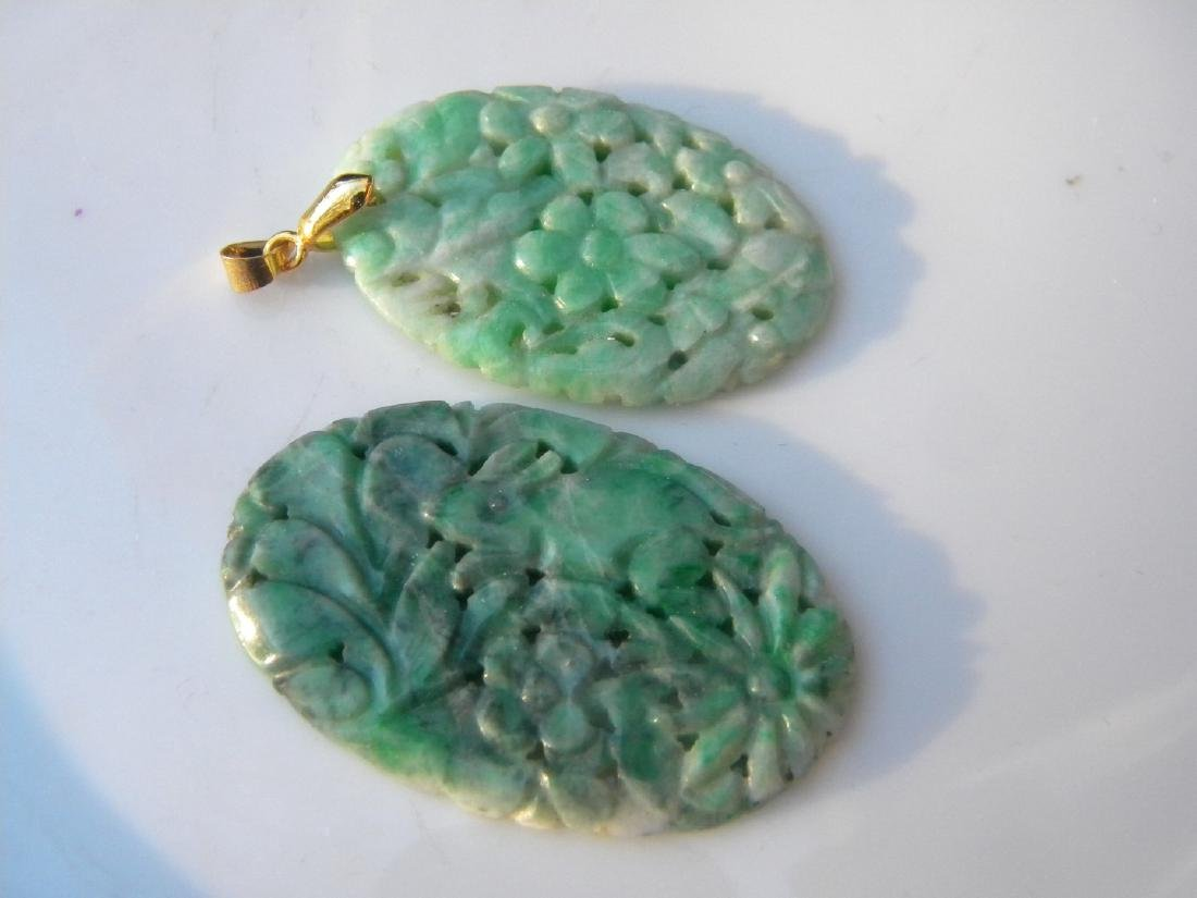 Two Antique Chinese Carved Green Jadeite Pendants - 2