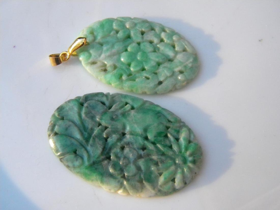 Two Antique Chinese Carved Green Jadeite Pendants - 3