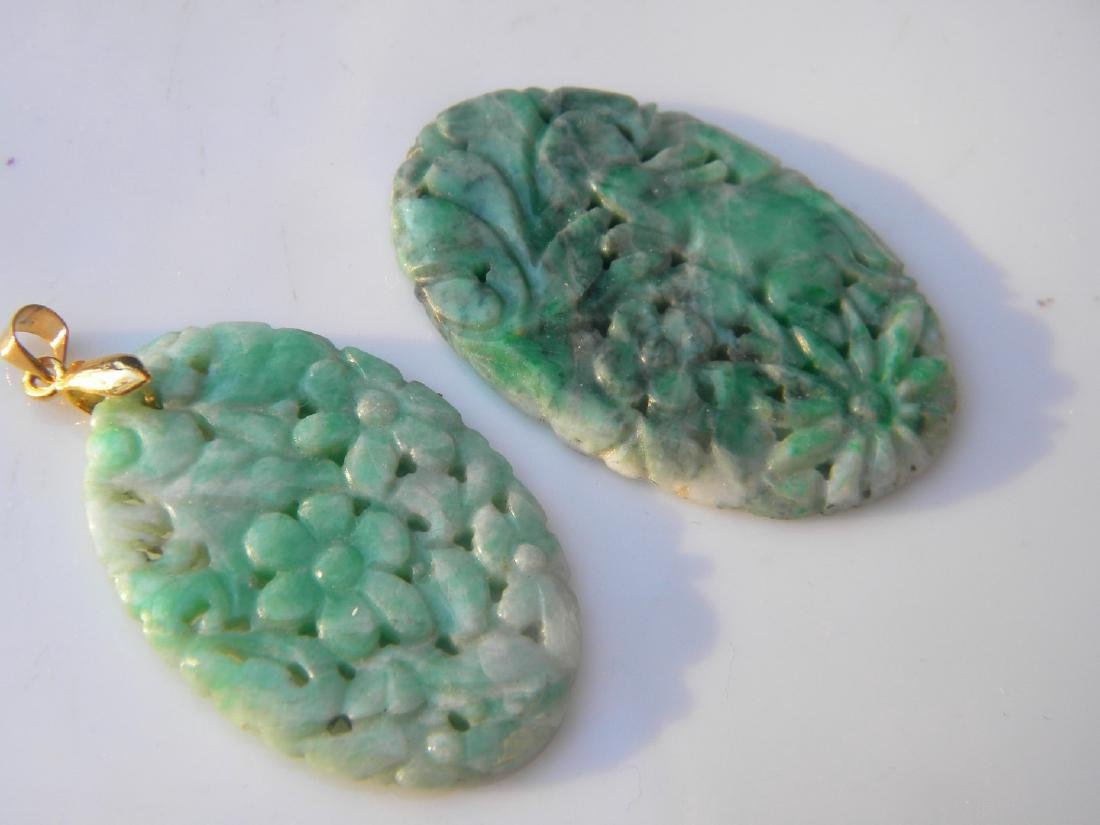 Two Antique Chinese Carved Green Jadeite Pendants - 4