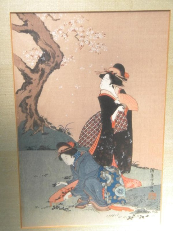 Antique Japanese Painting of Two Girls