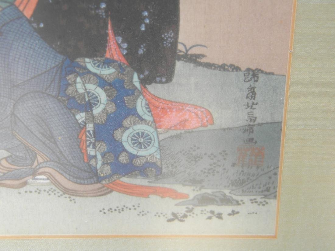 Antique Japanese Painting of Two Girls - 2