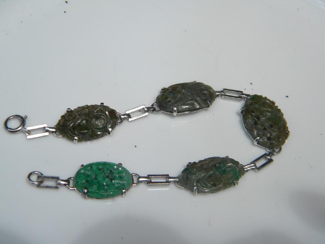 Antique Chinese Green Jadeite Bracelet - 3