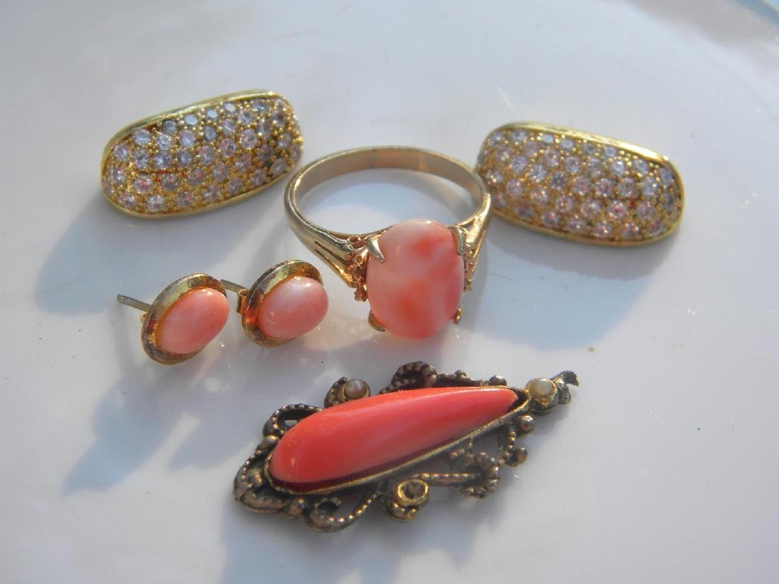 Group of Natural Coral Ring, Pendant and Earrings