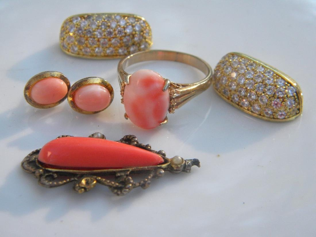 Group of Natural Coral Ring, Pendant and Earrings - 2