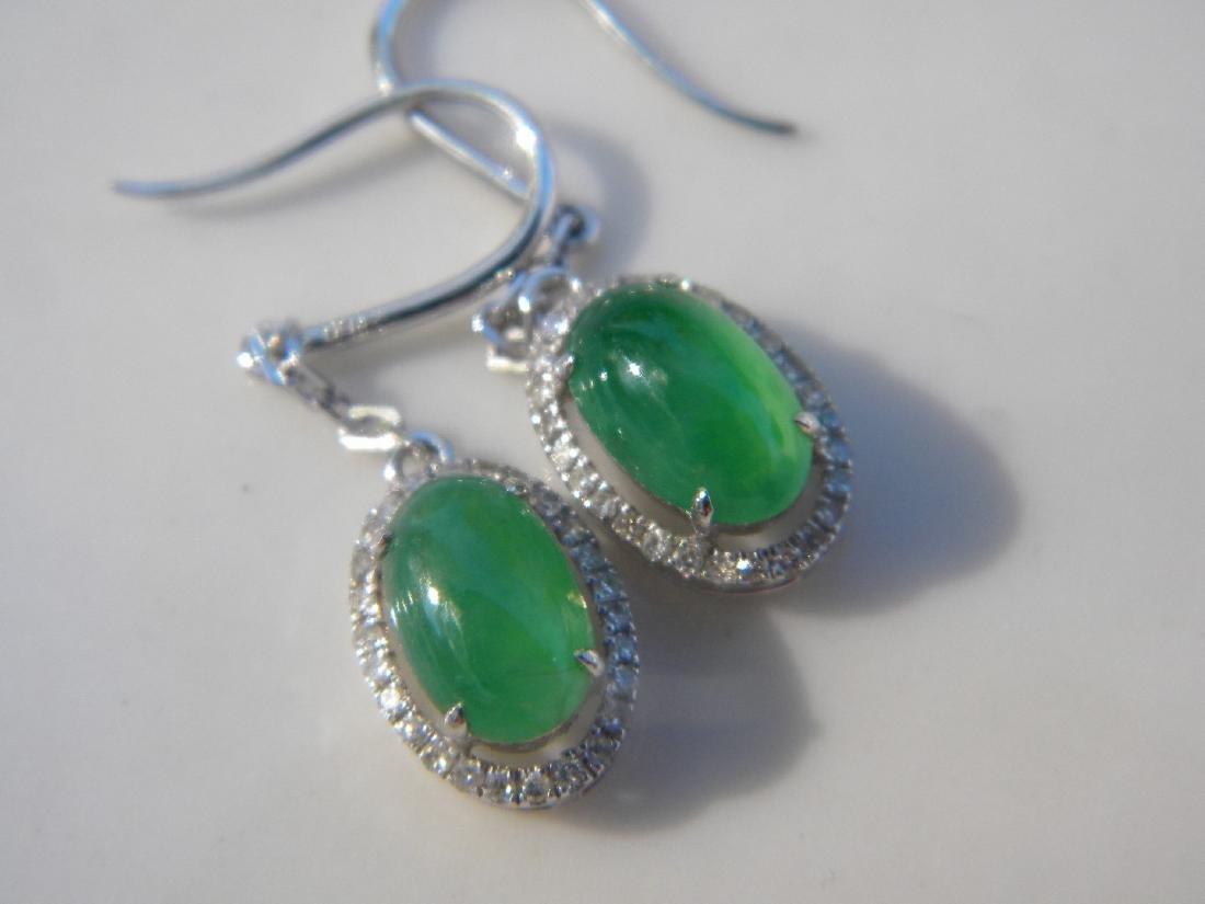 Pair of 18K Gold Diamond Natural Green Jadeite Earrings