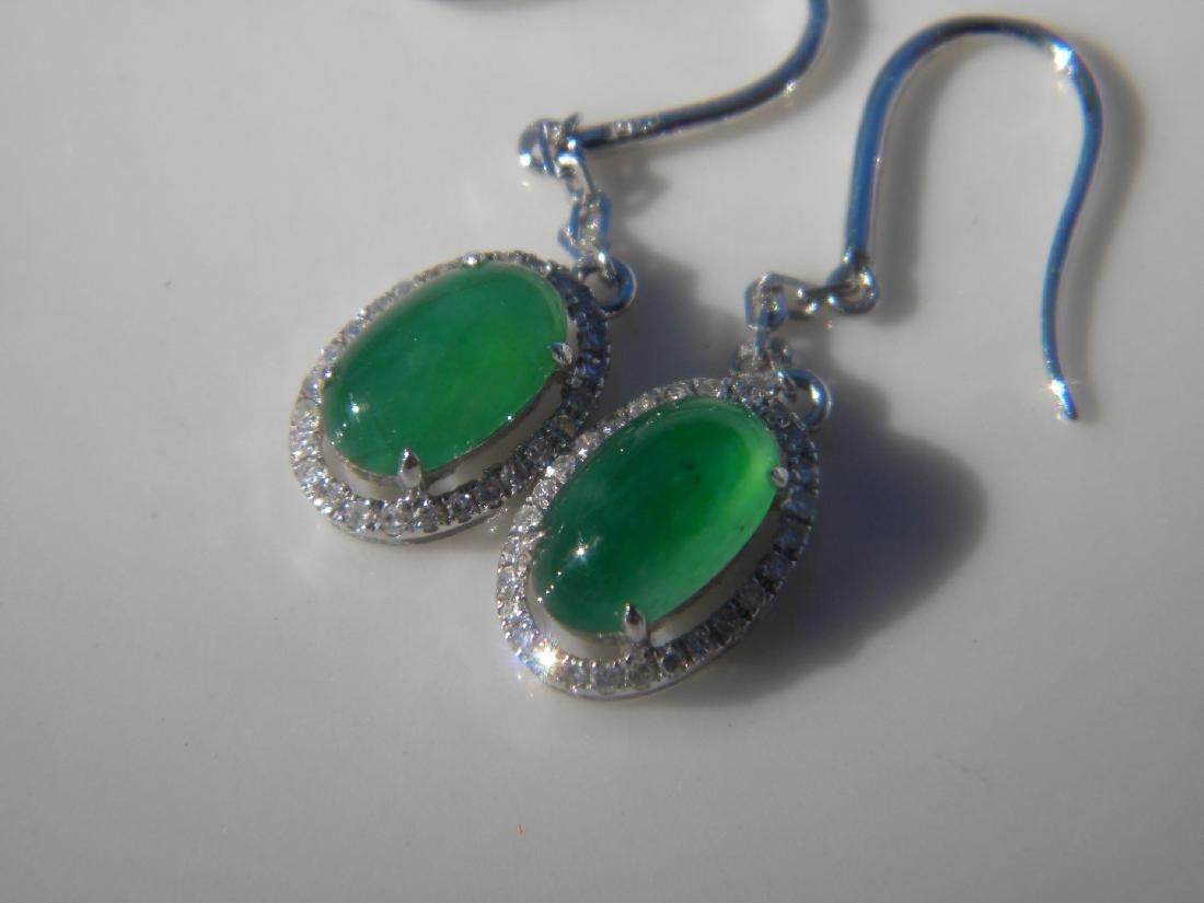 Pair of 18K Gold Diamond Natural Green Jadeite Earrings - 2
