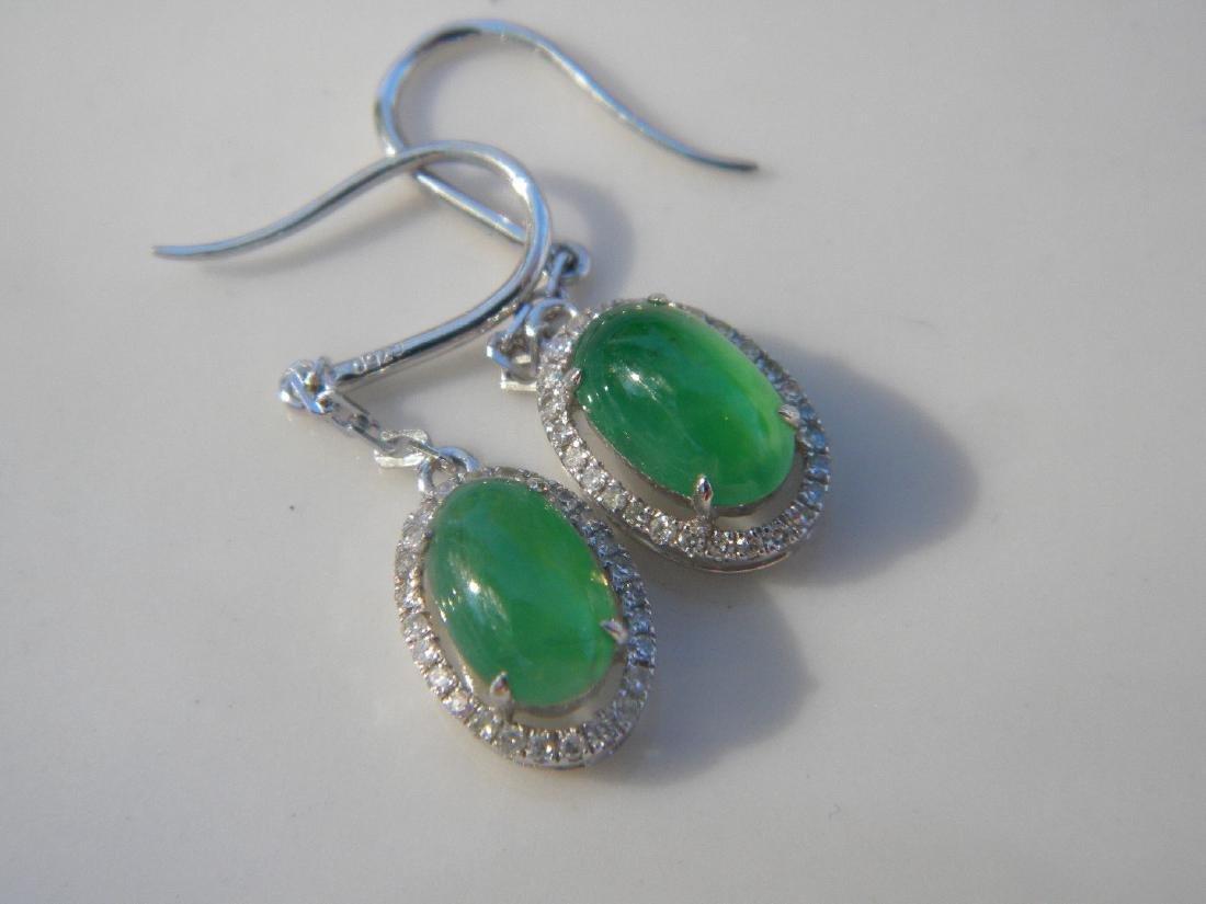 Pair of 18K Gold Diamond Natural Green Jadeite Earrings - 3
