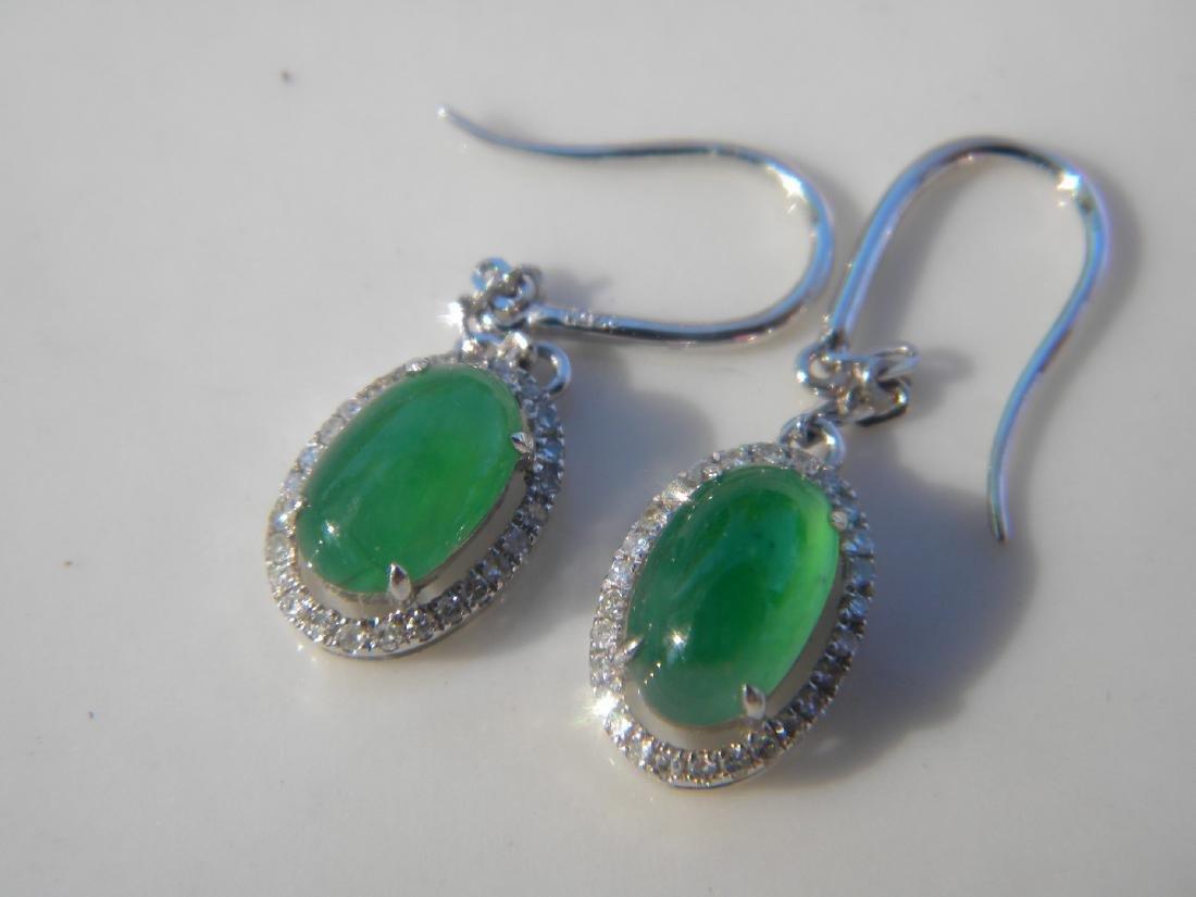 Pair of 18K Gold Diamond Natural Green Jadeite Earrings - 4