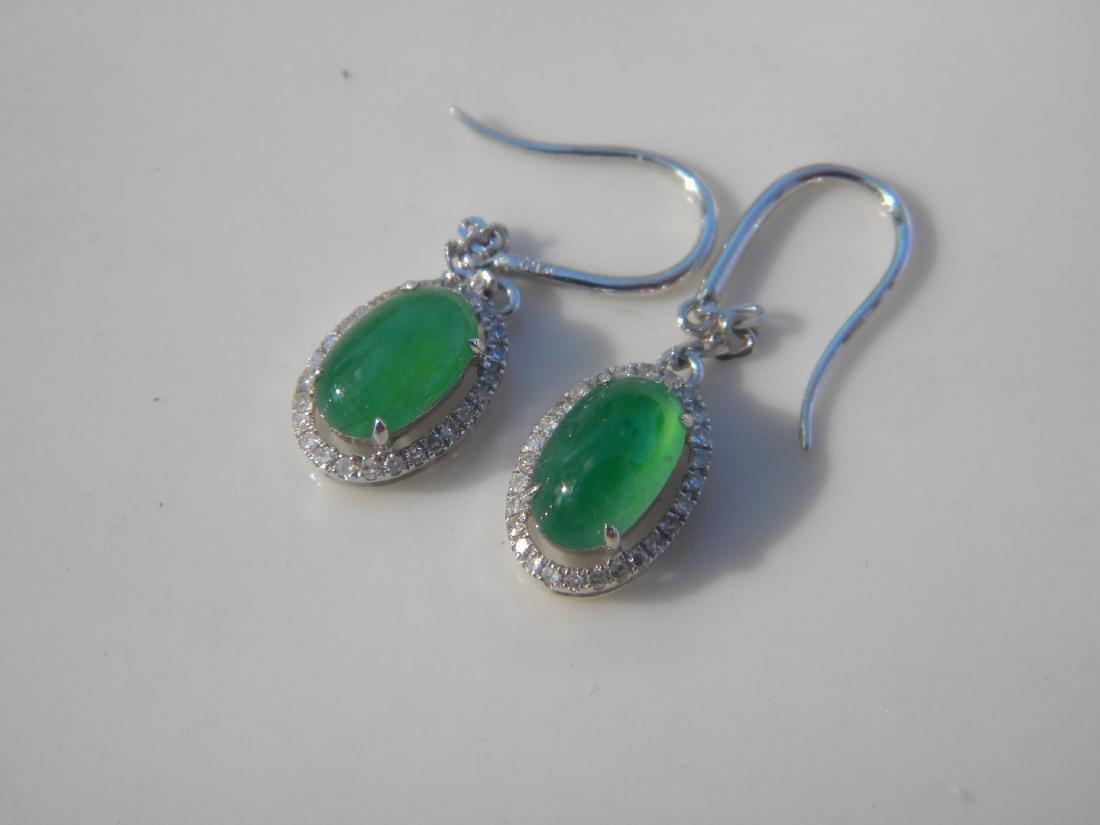 Pair of 18K Gold Diamond Natural Green Jadeite Earrings - 5