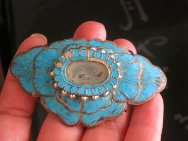 Antique Chinese kingfisher ornament with mirror