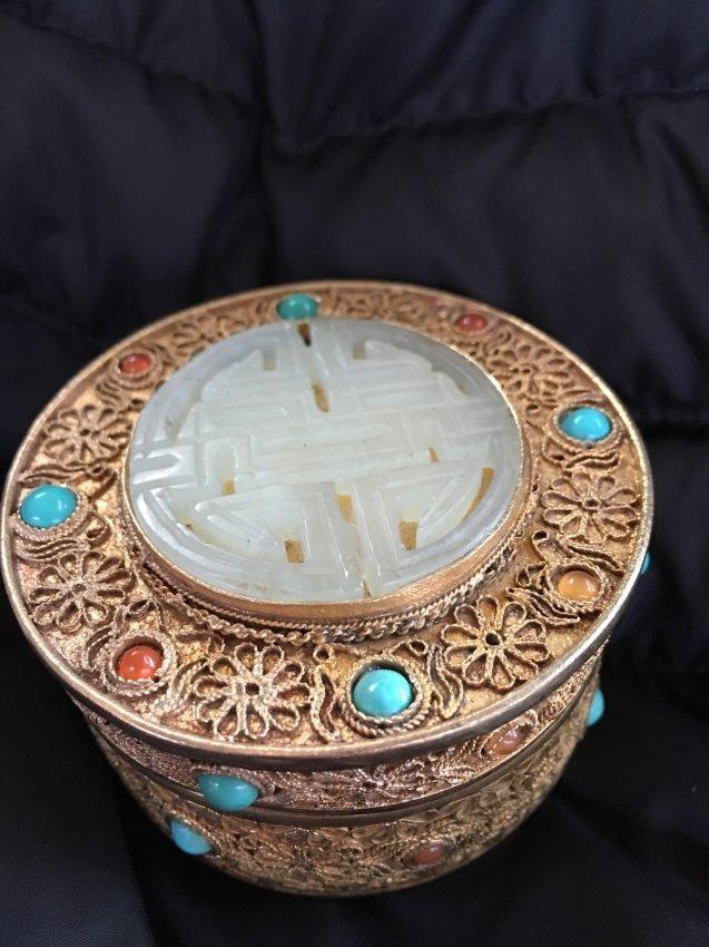 Chinese gilt filigree box with white jade top