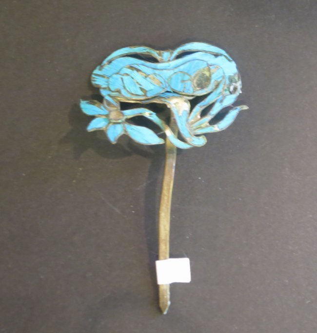 Antique kingfisher feather ornament hairpin