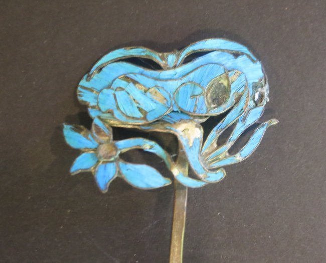 Antique kingfisher feather ornament hairpin - 3
