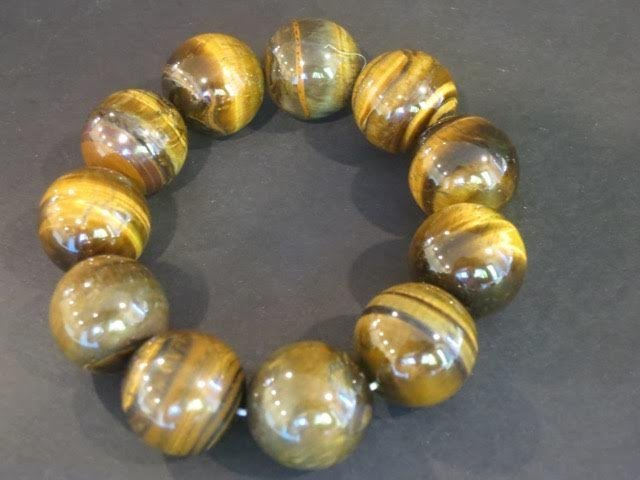 Large tiger's eye beads bracelet