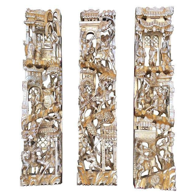 Chinese Gilt Wood Battle Scene Triptych - Set of 3