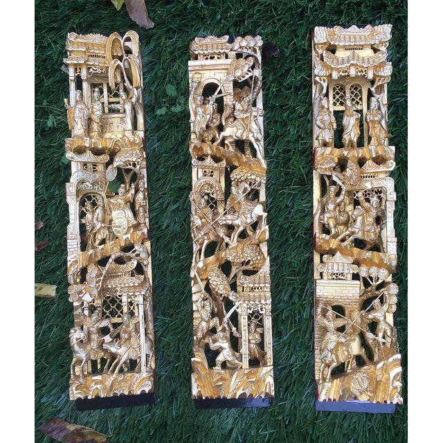 Chinese Gilt Wood Battle Scene Triptych - Set of 3 - 2