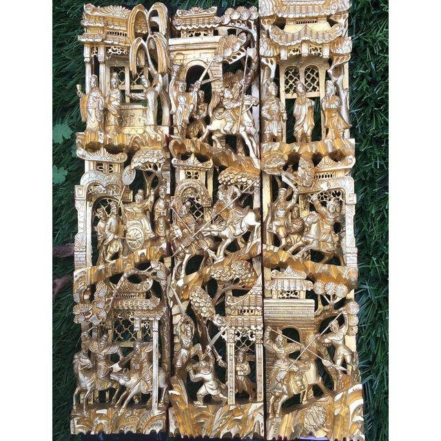 Chinese Gilt Wood Battle Scene Triptych - Set of 3 - 3