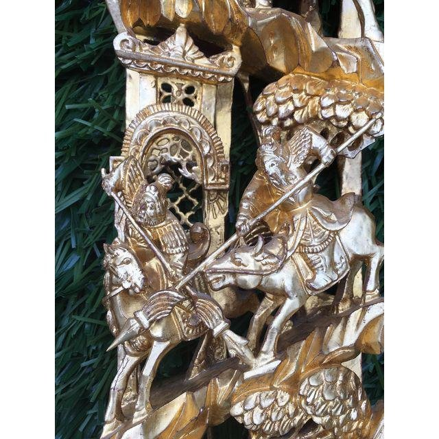 Chinese Gilt Wood Battle Scene Triptych - Set of 3 - 4