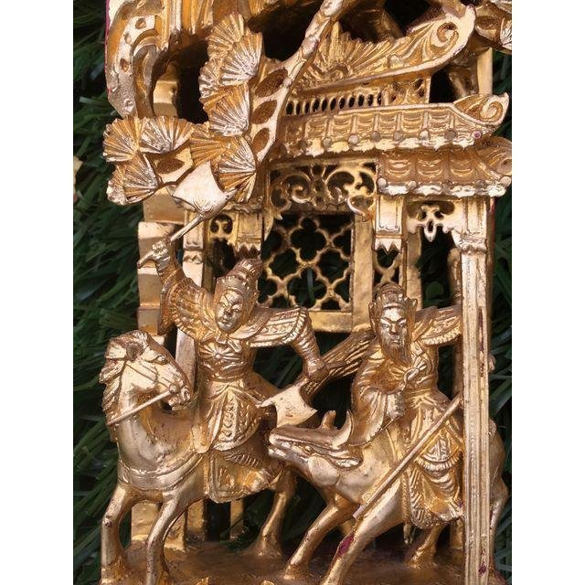 Chinese Gilt Wood Battle Scene Triptych - Set of 3 - 8