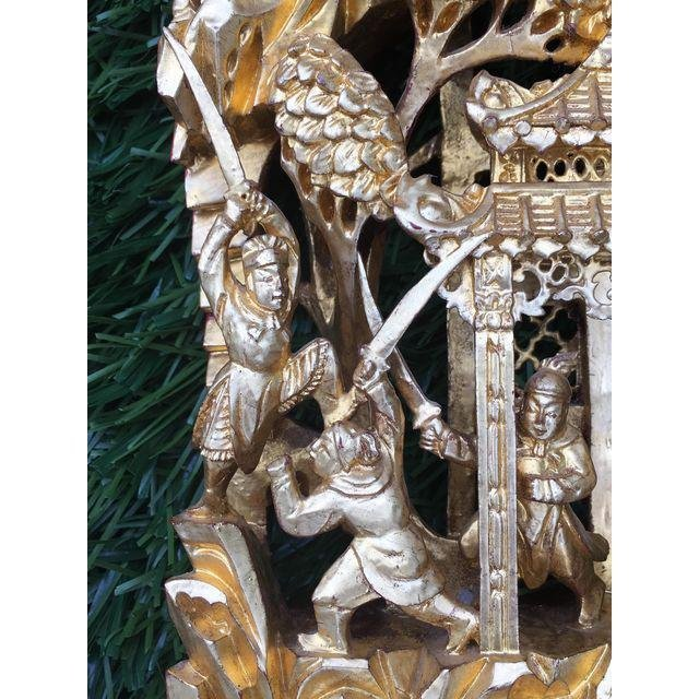 Chinese Gilt Wood Battle Scene Triptych - Set of 3 - 9