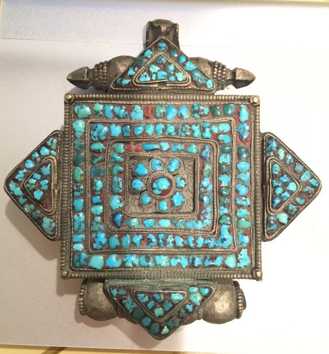 Tibetan old silver Gau prayer box pendant turquoise inl - 4