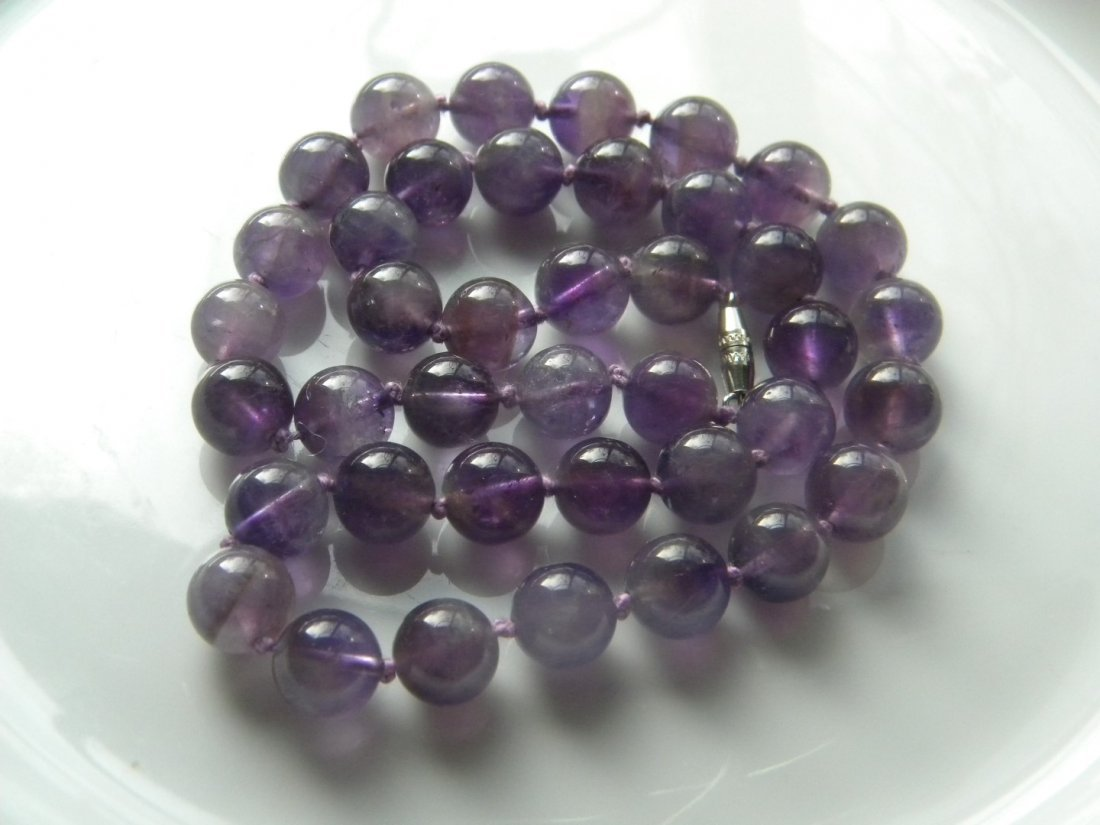 Vintage Natural Amethyst Round Bead Necklace